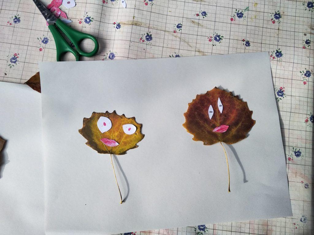 Aus den Herbstblättern kann man lustige Gesichter basteln :)